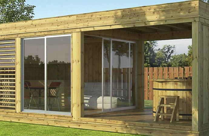 Nouveau le garden cube grillhote chalets bois kota grill - Camping dans son jardin ...